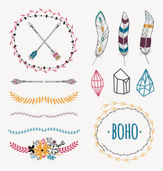 Colorful ethnic set with arrows feathers crystals vector