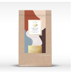 Craft paper bag with coffee chocolate label vector
