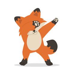 Cute fox dub dancing sign cartoon vector