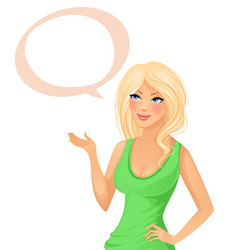 Cute girl with speech bubble vector