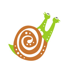 cute snail character looking up funny mollusk vector image