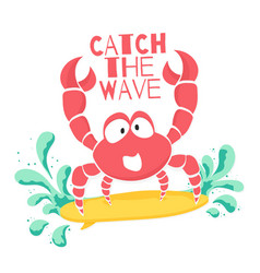 cute t-shirt design for kids funny crab vector image