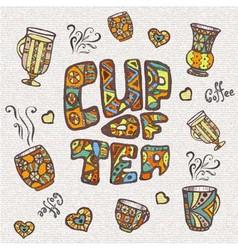 Decorative sketch of cup of coffee or tea vector