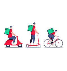 delivery guy courier in red shirt with food vector image