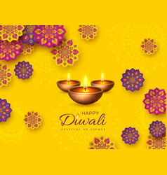 Diwali festival holiday design with paper cut vector