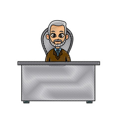 Drawing doctor working desk physician image vector