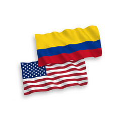 Flags colombia and america on a white vector