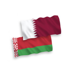 Flags qatar and belarus on a white background vector