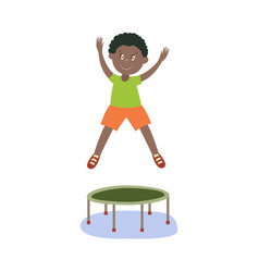 Flat black boy kid jumping on trampoline vector