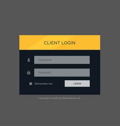 Flat modern login form ui template design vector