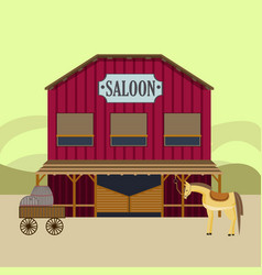 Flat wild west landscape template vector
