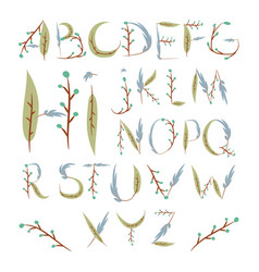 floral alphabet made berries and leaves hand vector image