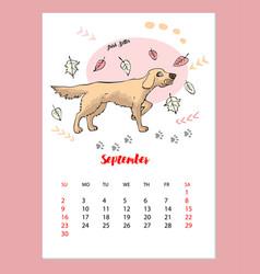 Funny irish setter sketch calendar vector