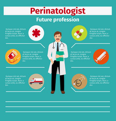 Future profession perinatologist infographic vector