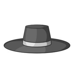 Gentleman hat icon gray monochrome style vector image