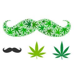 Gentleman moustache composition of marijuana vector