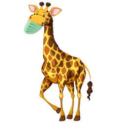 giraffe cartoon charater wearing mask vector image