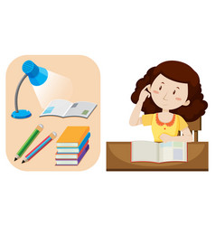 girl doing homework on table vector image