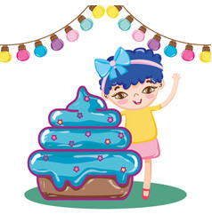 Girl with candy muffin with party bulbs decoration vector