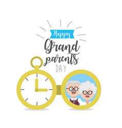 Grandparents day with picture and ribbon design vector