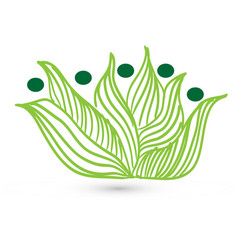 green leaf grass people figures icon vector image