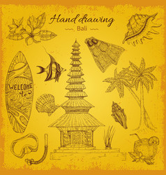 Hand drawing balinese background vector