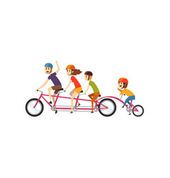 Happy family riding on tandem bicycle parents vector