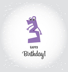 happy third birthday postcard violet number tree vector image