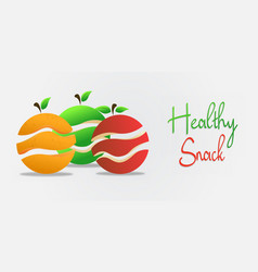 healthy snack orange and apple fruit concept vector image