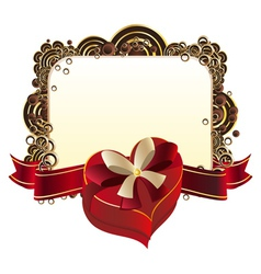 Heart shaped box with ribbon2 vector