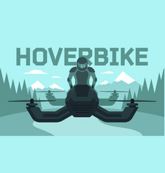 Hover bike rider in riding vector