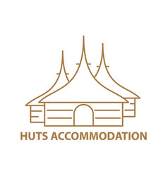 Huts line icon vector
