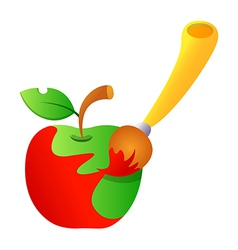Icon apple and brush vector