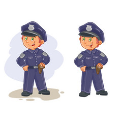 Icons of small child police man vector