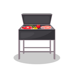Kettle grill with grilled meat and vegetables vector