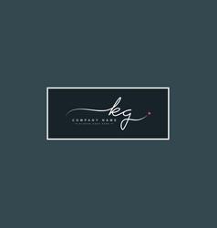 Kg initial letter logo - hand drawn signature logo vector