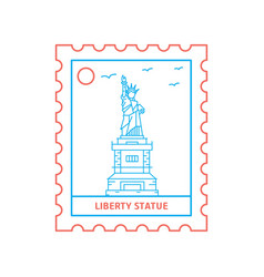 liberty statue postage stamp blue and red line vector image