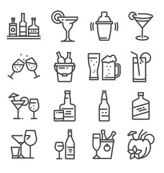 Line alcohol icons set on white background vector