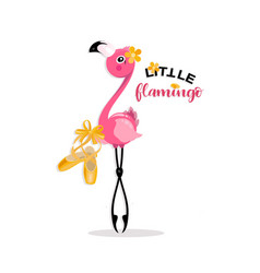Little flamingo with pointe shoes vector