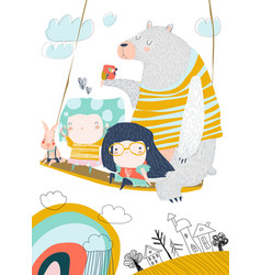 Little girls swinging on a swing with cute animals vector