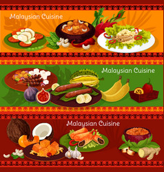 malaysian cuisine banners with asian dishes vector image