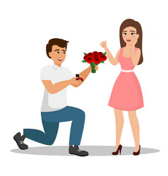 man proposes a woman to vector image