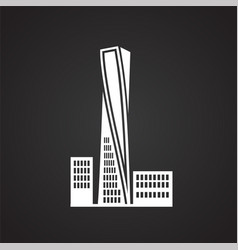 modern architecture building on black background vector image