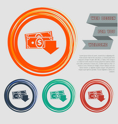 Money cash icon on red blue green orange vector