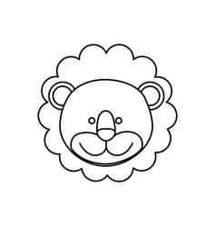 Monochrome contour with male lion head vector