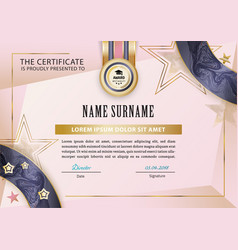 Official certificate with blue pink gold design vector