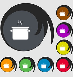 Pan cooking icon sign symbols on eight colored vector
