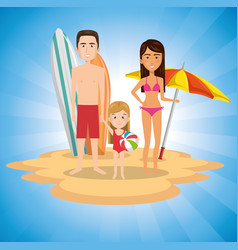Parents with daughter on the beach vector