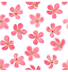 Pink blossoming cherry with bokeh effect seamless vector