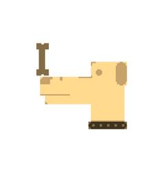 Pixel art dog with bone vector